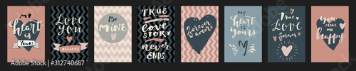 Fotografie, Obraz Set of love quotes. Modern calligraphy, hand lettering