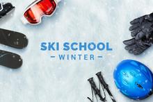 Ski School Text On Snow Surrou...