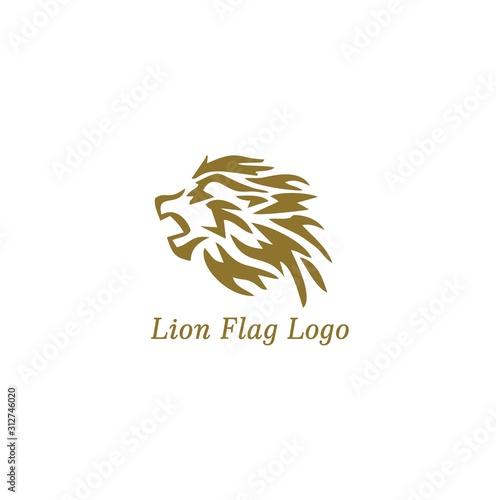 Lion Flag Logo vector and minimalist animal Wallpaper Mural