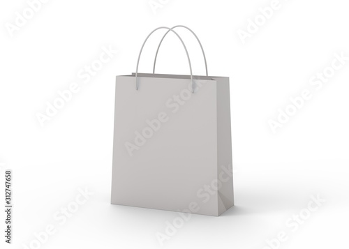 Fotomural Shopping bag isolated on white background 3d rendering