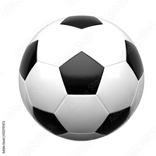 Fényképezés Soccer ball isolated on white background 3d rendering