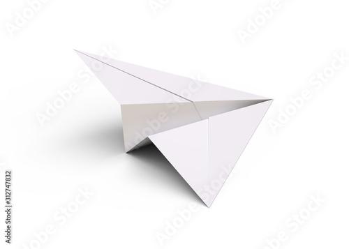 Obraz Paper plane isolated on white background 3d rendering - fototapety do salonu