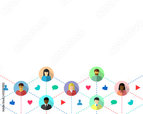 Social media concept with people interacting through different social platforms. Vector illustration isolated on white background.