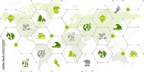 Obraz Climate change / global warming consequences – world map icon concept: drought, sea level rise, heat, flood, storm - vector illustration - fototapety do salonu