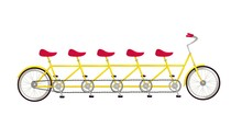 Tandem Bicycle Icon Flat Graph...