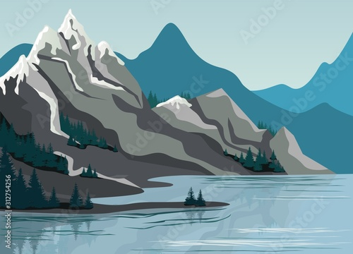 Photo Beautiful high mountain landscape exciting view graphic design