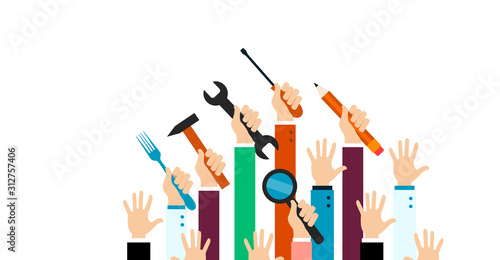Fotomural mani alzate, mestieri, persone, lavoratori