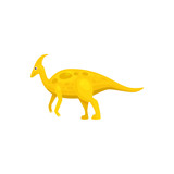 Fototapeta Dinusie - Parasaurolophus ornithopod dinosaur isolated yellow prehistoric animal. Vector cartoon dino, walkeri