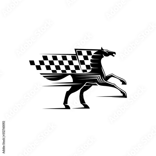 Obraz Horse race icon with checkered flag and stallion. Vector running mustang, equestrian sport mascot - fototapety do salonu