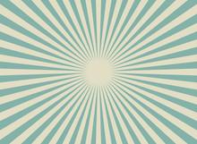Sunlight Wide Retro Faded Background. Blue And Beige Color Burst Wallpaper. Fantasy Vector Illustration.