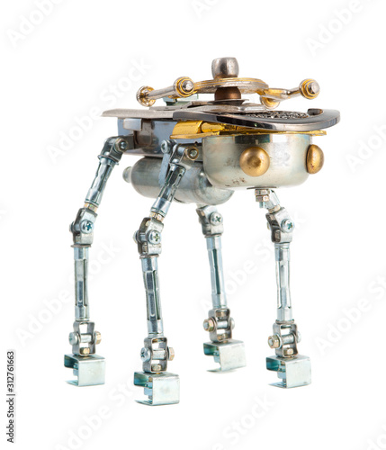 Steampunk robot. Cyberpunk style. Chrome and bronze parts. Canvas Print