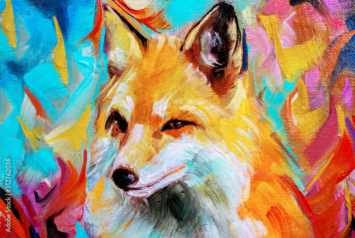 Obraz na plátne Wild fox illustration in oils isolated on colorful background