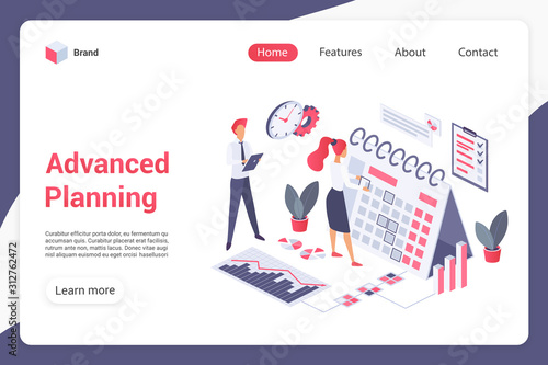 Photo Advanced planning landing page vector template