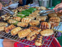 Grilled Banana Wrapped With Sticky Rice At Cambodia Outdoor Market