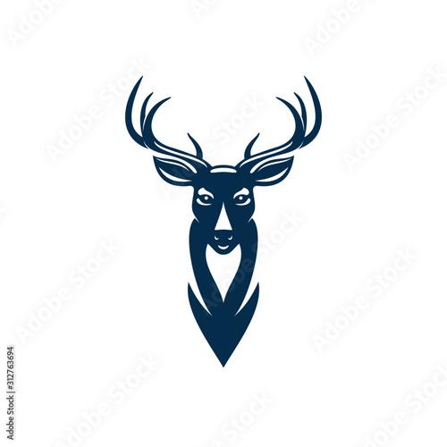 Obraz Wild elk or deer with antlers isolated head mascot. Vector horned animal, reindeer hunting sport emblem - fototapety do salonu