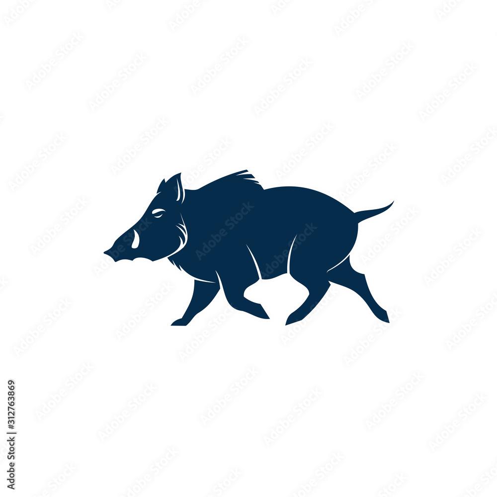 Fototapeta Boar wild pig isolated animal silhouette. Vector hog, warthog swine with tusks
