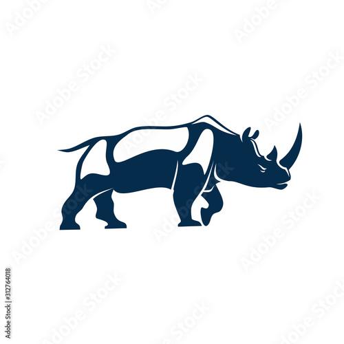 Obraz na plátně Big african rhino isolated huge rhinoceros