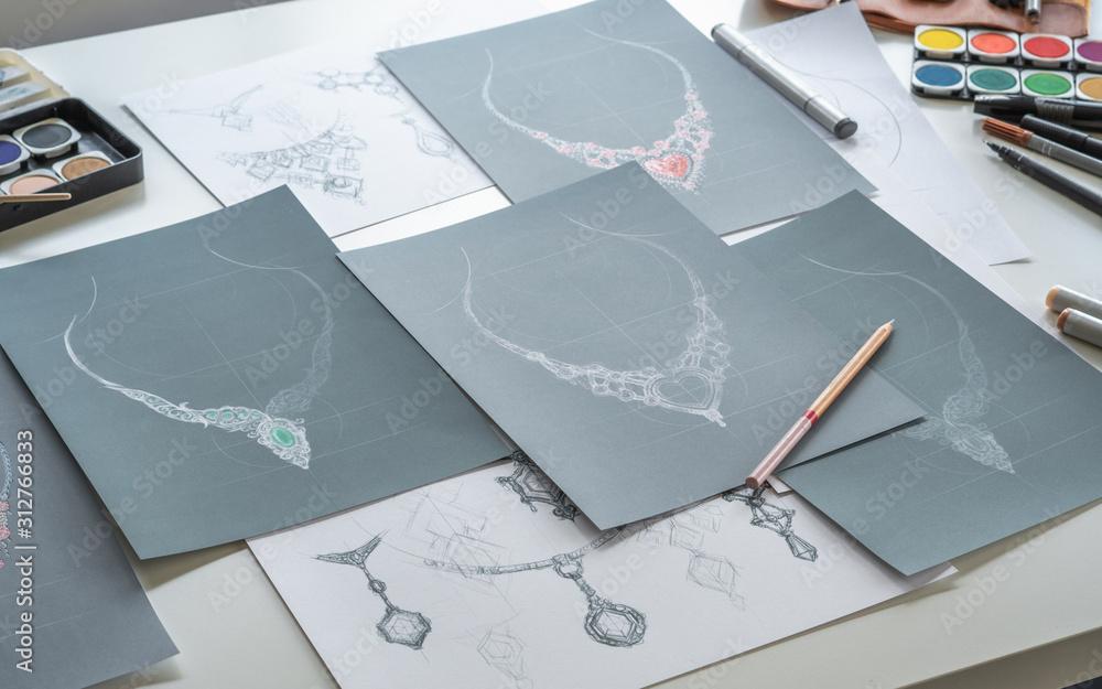 Fototapeta Designer design diamond jewelry drawing sketchesmaking workscraft unique handmade luxury necklaces product ideas.