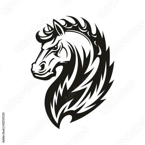 Fototapety, obrazy: Horse head icon of black tribal animal. Wild mustang stallion or mare with curved neck and ornamental mane for tattoo, horse racing sport mascot or t-shirt print design