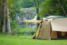 Camping Tent On Waterfall And ...