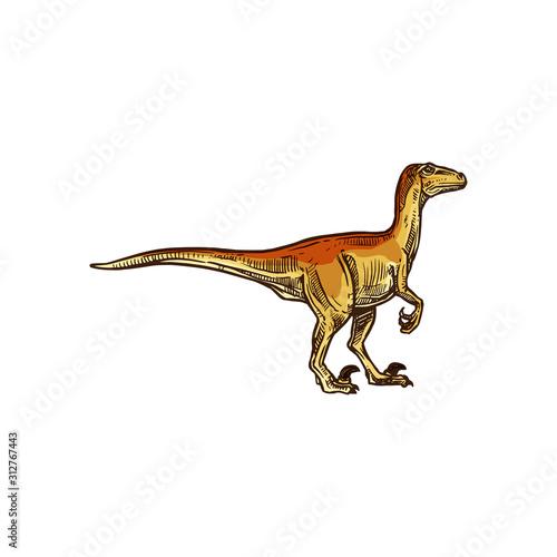 T-rex isolated beige dinosaur sketch Tablou Canvas