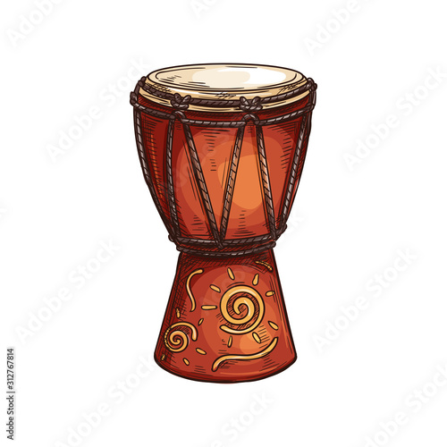 Djembe drum African musical instrument isolated sketch Fotobehang