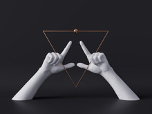 3d Render, White Decorative Female Mannequin Hands Isolated On Black Background, Golden Triangle Frame, Fingers Pointing Up, Body Parts, Luxury Fashion Concept, Esoteric Fortuneteller, Minimal Design