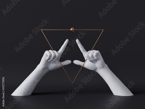 3d render, white decorative female mannequin hands isolated on black background, Obraz na płótnie