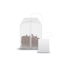 Tea Bag With Black Tea In Transparent Package Isolated. Vector Teabag And Blank Tag Mockup