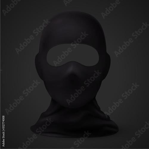 Photo Balaclava Snowboarding or Mountain Skiing Protective Wear on Black Background