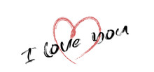 The Inscription I Love You. Red Heart. On White Background. Banner Or Postcard.