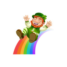 Happy Leprechaun Sliding Down Rainbow Isolated. Vector Smiling Elf In Green Hat And Suit