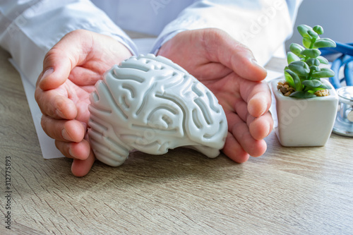 Photo Protection, treatment, prevention and patronage health in neurology in brain health against diseases, pathologies concept photo