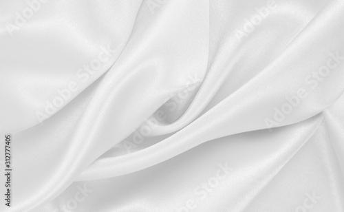 Fototapeta Smooth elegant white silk or satin luxury cloth texture as wedding background