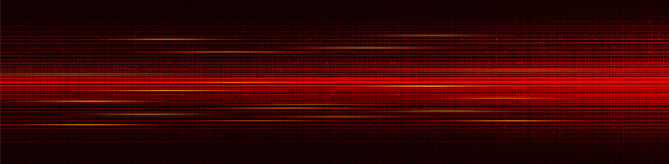 Panorama Red Cyber Digital Stars with Light Speed Line Technology Background; future and network Concept design; Vector Illustration.