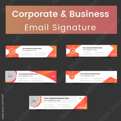 Corporate And Business Email Signature Template Design Wallpaper Mural