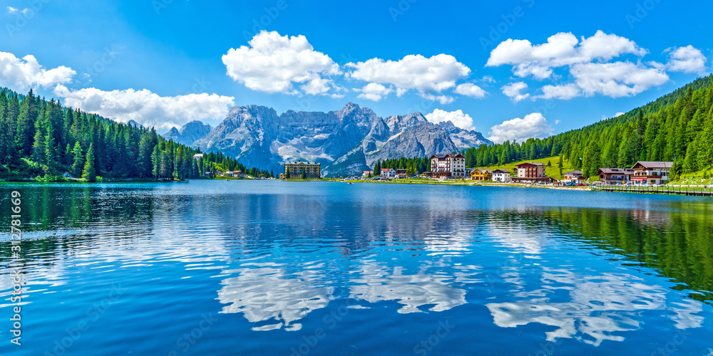 Fototapeta Dolomites landscape in summer by Misurina lake, Italy