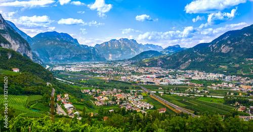 Adige valley near Trento, Trentino summer landscape. Italy Canvas Print