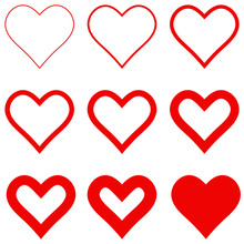 Set Red Hearts With Different ...