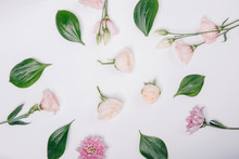 Floral White Background Made O...