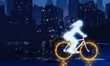 Ghost Girl Riding Bicycle With Fire Wheels Illustration