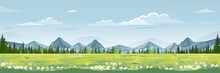 Spring Landscape With Mountain...