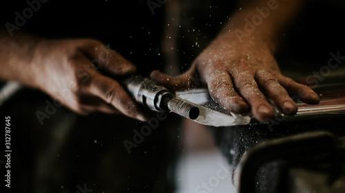 Artisan en action dans son atelier Canvas Print