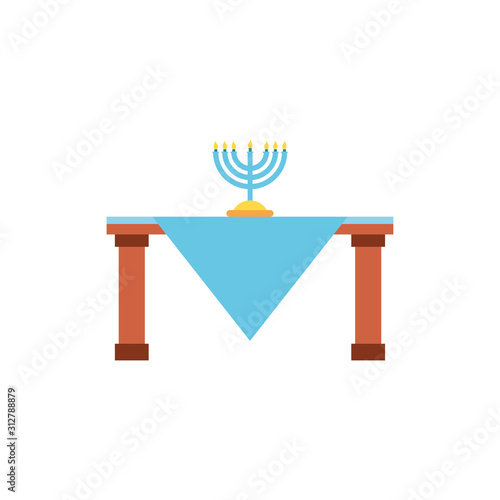 Isolated jewish menorah over table vector design Wallpaper Mural