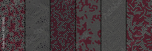 Set of organic seamless patterns with rounded lines, drips Canvas Print