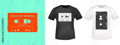 Tableau sur Toile Compact cassette retro t-shirt print stamp for tee, t shirts applique, vintage fashion, badge, label clothing, jeans, and casual wear