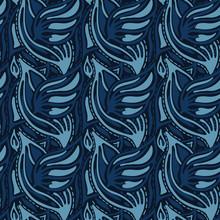 Indigo Blue Dyed Leaf Vector Seamless Pattern. Hand Drawn Japanese Stylized Leaves Style Kimono Fabric Background. Trendy Monochrome Masculine Decorative Shirting All Over Print. Navy Blu Fashion.