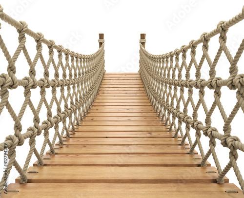 Rope suspension bridge on white background - 3D illustration Fotomurales