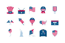 Isolated Usa Icon Set Vector D...