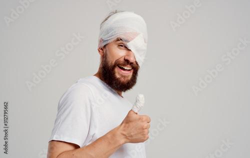 Obraz na plátně young man in santa hat